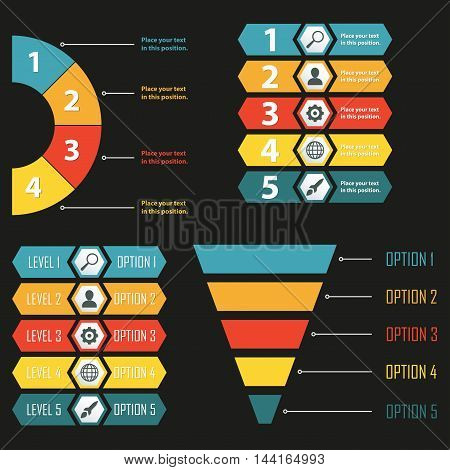 Infographic templates. Infographics design elements for web, layout, banner, presentation and chart. Business concept and funnel symbol. Colorful vector illustration.