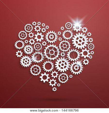 Vector mechanical heart made of cogwheels on red