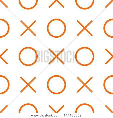 Tile x o noughts and crosses orange and white vector pattern