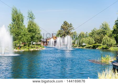 Fountain in the lake in Mezhyhiria nature