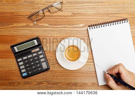 Cup Of Coffee Espresso On The Desktop