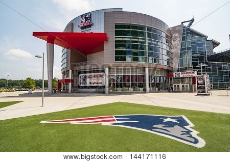 FOXBORO MA - AUGUST 4: Gillette Stadium home of the New England Patriots on August 4 2012. It is located 21 miles southwest of Boston and 20 miles from Providence Rhode Island. It can sit 68756.
