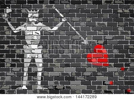 Pirate flag on a brick wall - Illustration,  Blackbeard pirate flag on brick textured background,  Pirate flag in brick style