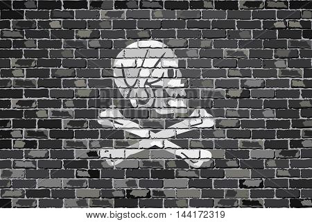 Pirate flag on a brick wall - Illustration,  Henry Every pirate flag on brick textured background,  Pirate flag in brick style