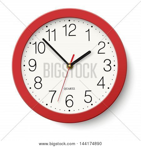 Vector simple classic red round wall clock isolated on white
