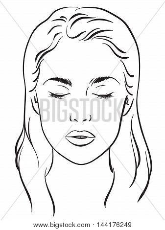 Beautiful woman portrait. Face chart Makeup Artist Blank Template. Vector illustration