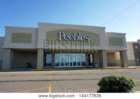 PETOSKEY, MICHIGAN / UNITED STATES - AUGUST 2, 2016: Peebles is a department store chain selling apparel, accessories, cosmetics & household goods, in Petoskey's Bay Mall.