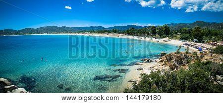 Beautiful Sikias beach on the east coast of Sithonia on Halkidiki, Greece.