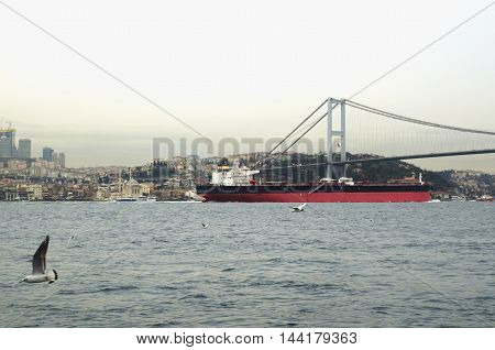 Petrol Tanker ship moving on Istanbul Bosphorus. The Bosphorus Strait is a key point for maritime transit of oil tankers Vessels