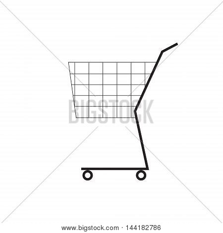Shooping cart symbol. Simple line icon. Vector illustration