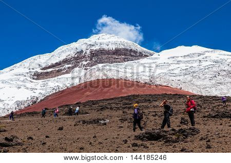 Cotopaxi Ecuador August 4 2016: Some unidentified climbers ascend to the refuge of Cotopaxi volcano the day of its reopening a year after its eruption.