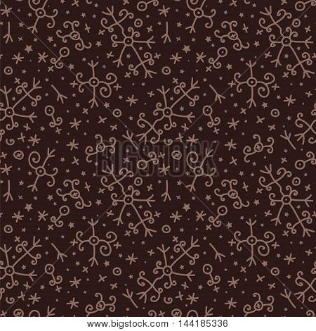 Magic voodoo pattern. Abstract seamless background of magic symbols stars and crosses.