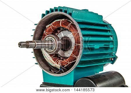 Electrical motor close-up isolated on white background