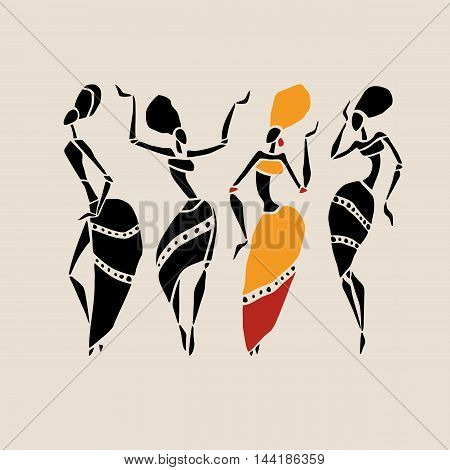 Figures of african dancers. Dancing woman in ethnic style. Vector  Illustration.
