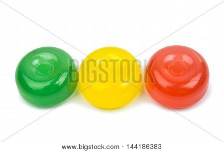 round colourful candy on a white background
