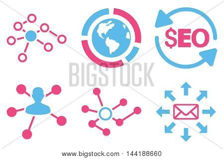 Seo Link Building vector icons. Pictogram style is bicolor pink and blue flat icons with rounded angles on a white background.