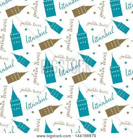 seamless istanbul galata tower pattern and background vector illustration