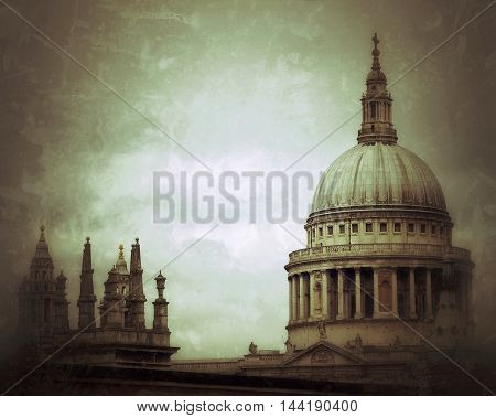 St Pauls Cathedral dome  and towerin London,UK