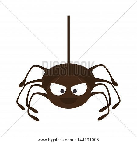 Spider in cobweb arachnida animal halloween cartoon vector illustration