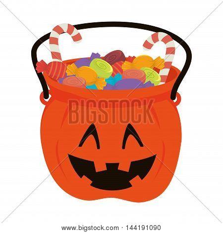 pumpkin bucket of halloween season trick or trick vector illustration