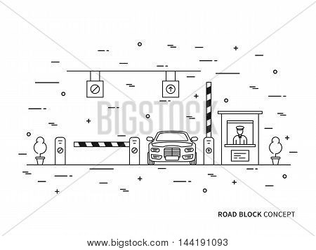 Road Checkpoint Station Pay-gate, Tourniquet Linear Vector Illustration