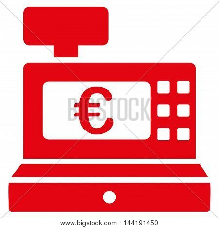 Euro Cashbox icon. Vector style is flat iconic symbol with rounded angles, red color, white background.