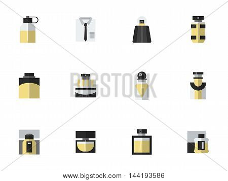 Black and yellow style perfume bottles. Mens fragrances. Luxury and body care products for male. Set of simple flat color vector icons.