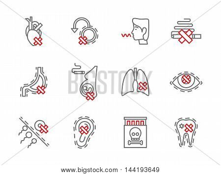 Smoking addiction and harmful. Dangerous bad habits and drug abuse. Health harm theme. Set of simple gray and red line style vector icons.