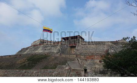 castillo, paisaje, cartagena, cielo, vista, bandera de colombia poster