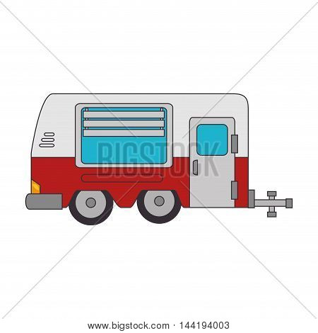 trailer truck vehicle camping  cabine caravan vector illustration