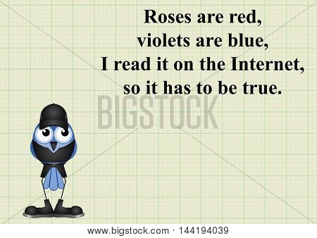 Comical internet poem on graph paper background with copy space for own text