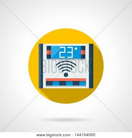 Domestic electronic temperature regulation device. Remote control thermostat for floor heating. Colored round flat design vector icon.