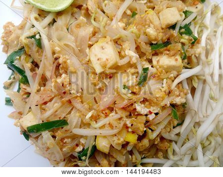 Thai Food Pad Thai , Stir Fry Noodles With Tofu In Padthai Style. The One Of Thailand's National Mai