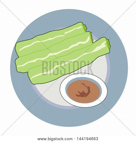 Vector green celery colored rolls and peanut sauce