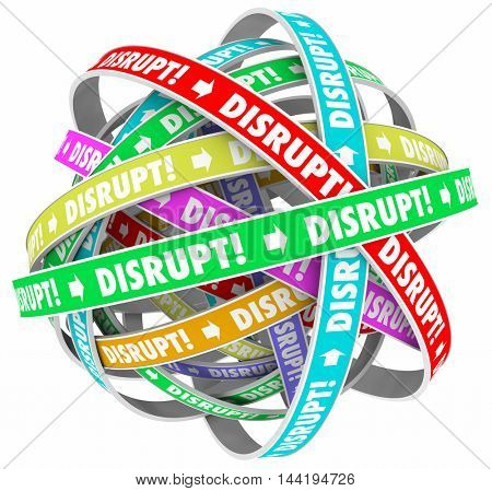 Disrupt Change Upset Status Quo Loop Process 3d Illustration