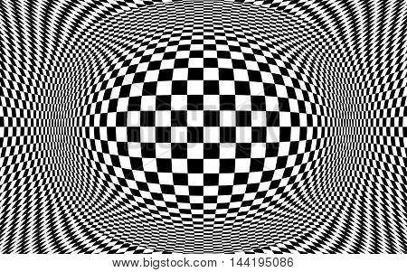 Black and white checker pattern optical illusion.  Illustration