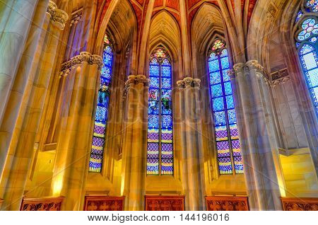 Berlin Germany - November 8 2010: Interior of the Friedrichswerder Church Berlin Germany. It was the first Neo-Gothic church built in Berlin.