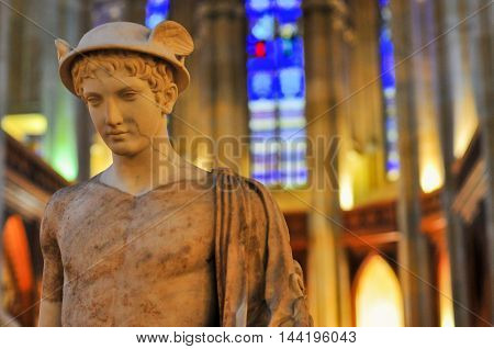 Berlin Germany - November 8 2010: Statue of Hermes (Mercury) in the Friedrichswerder Church Berlin Germany.