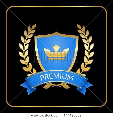 Laurel wreath gold icon with shield crown scroll ribbon. Golden and blue banner isolated on black background. Design for label decoration certificate or award insignia. Vector illustration