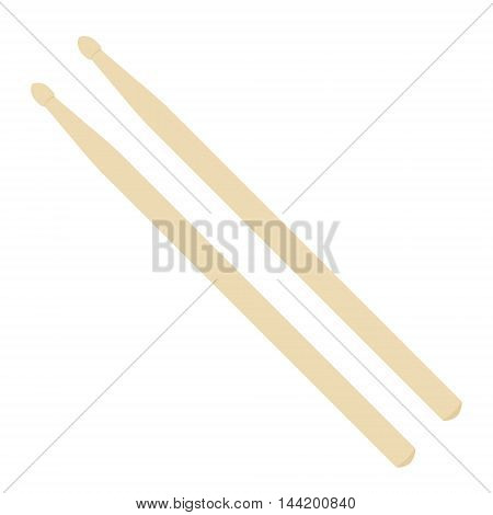 Vector illustration a pair of wooden drumsticks. Drum sticks icon flat design