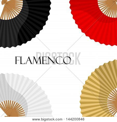 Vector illustration folding fan background  card with white golden black and red hand fan. Flamenco dance