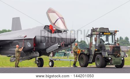 Leeuwarden, Netherlands - June 11 2016: F35 Joint Strike Fighter Is Towed To The Hangar After A Demo