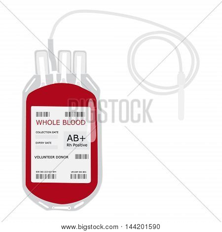 Vector illustration blood bag with label AB positive blood isolated on white. Donate blood concept. Realistic blood bag
