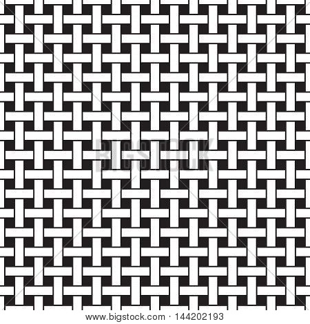 Basket weave seamless pattern. Wicker repeating texture. Braiding continuous background of intersecting perpendicular stripes. Geometric vector illustration in black and white colors.