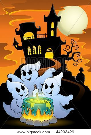 Ghosts stirring potion theme image 5 - eps10 vector illustration.