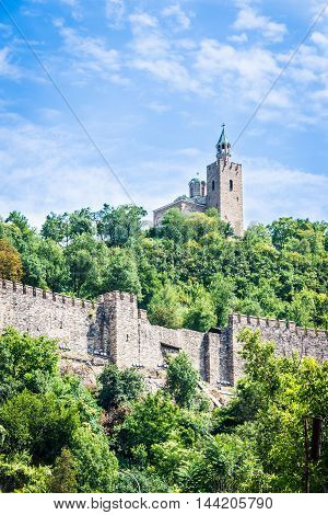 Tsarevets fortress and the Patriarchal church in Veliko Tarnovo Bulgaria.