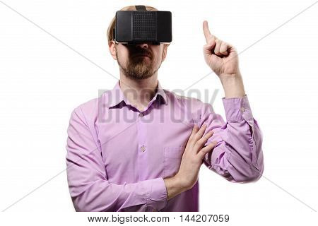 Nice Man With Glasses Of Virtual Reality In Lilac Shirt