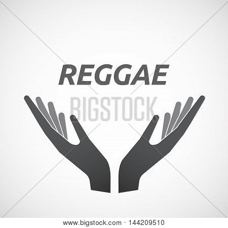 Isolated Hands Offering Icon With    The Text Reggae