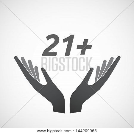 Isolated Hands Offering Icon With    The Text 21+