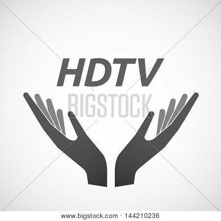 Isolated Hands Offering Icon With    The Text Hdtv
